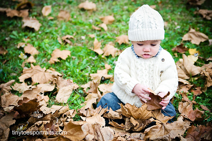 baby boy playing in the leaves