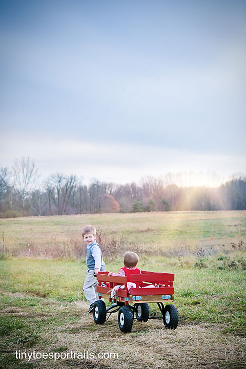 little boy pulling baby girl in wagon at sunset