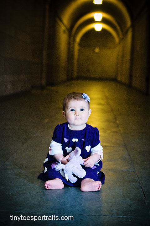 baby girl inside cathedral of learning