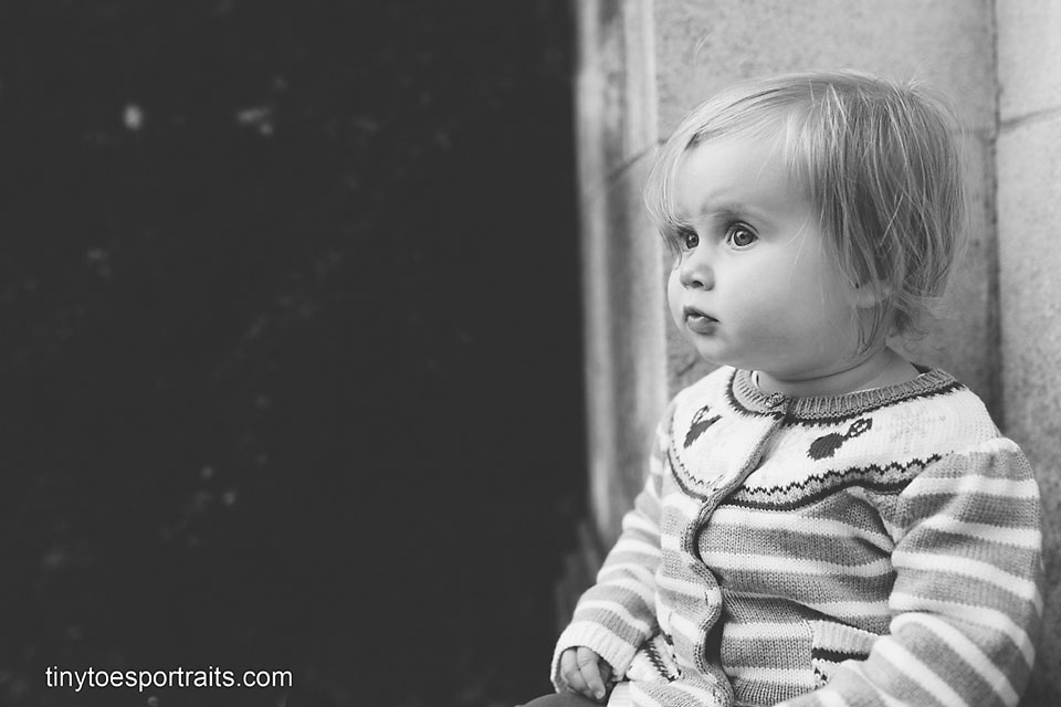 baby girl profile in black and white