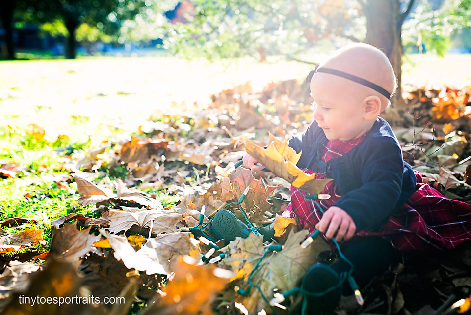 baby girl playing in the leaves