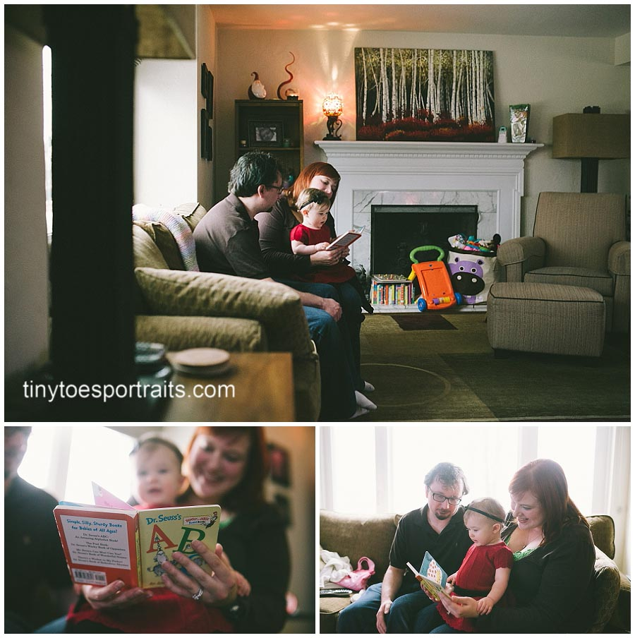 parents reading to little girl