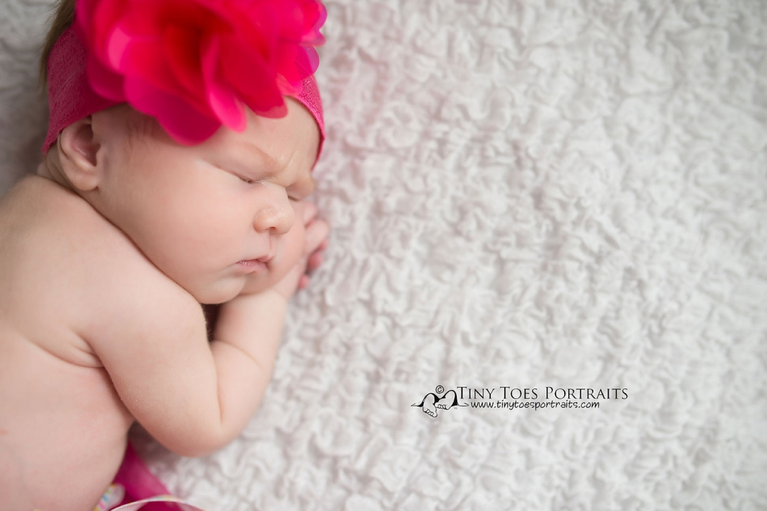 baby girl on white backdrop with large pink headband