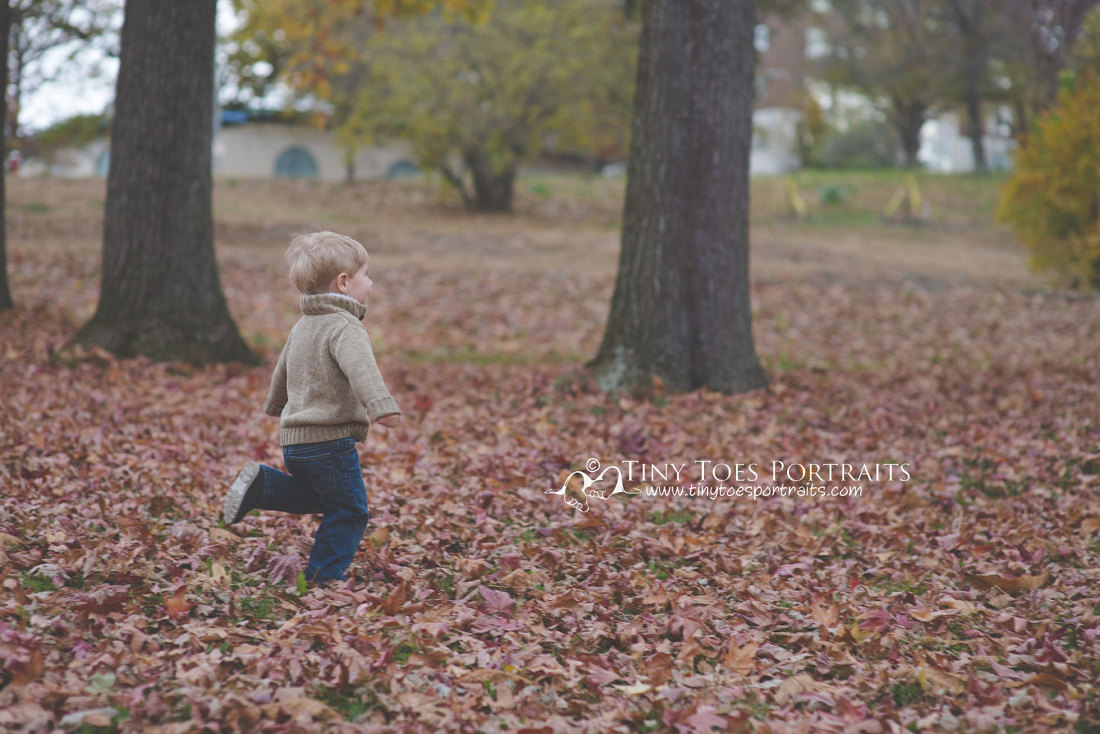 little boy running through the leaves