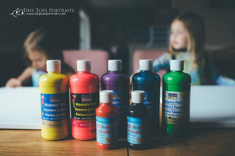 seven bottles of paint