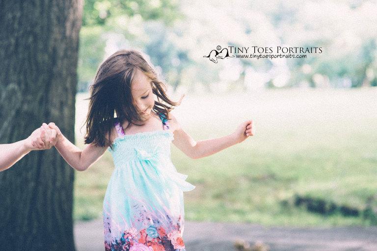 little girl walking along